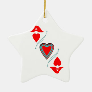 Ace of hearts ceramic star decoration