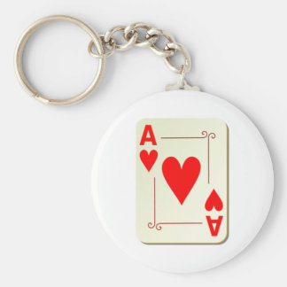 Ace of Hearts Playing Card Basic Round Button Key Ring