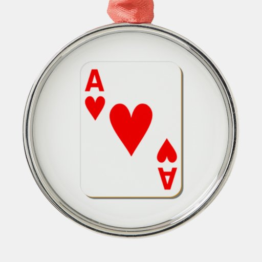 Ace of Hearts Playing Card Christmas Ornaments