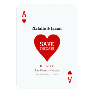 Ace of Hearts Save The Date Wedding Announcement