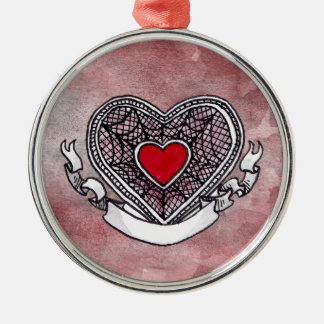 Ace of Hearts Silver-Colored Round Decoration