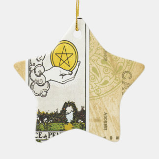 Ace Of Pentacles Tarot Postcard Fortune Teller Double-Sided Star Ceramic Christmas Ornament