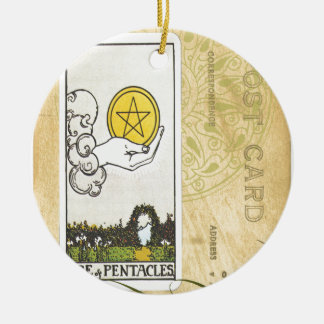 Ace Of Pentacles Tarot Postcard Fortune Teller Christmas Ornaments