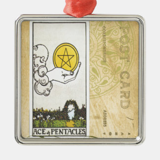 Ace Of Pentacles Tarot Postcard Fortune Teller Silver-Colored Square Decoration