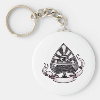 Ace of Spades Basic Round Button Key Ring