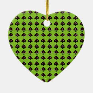 Ace of Spades Ceramic Heart Decoration