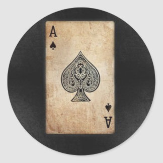 Ace of Spades Classic Round Sticker