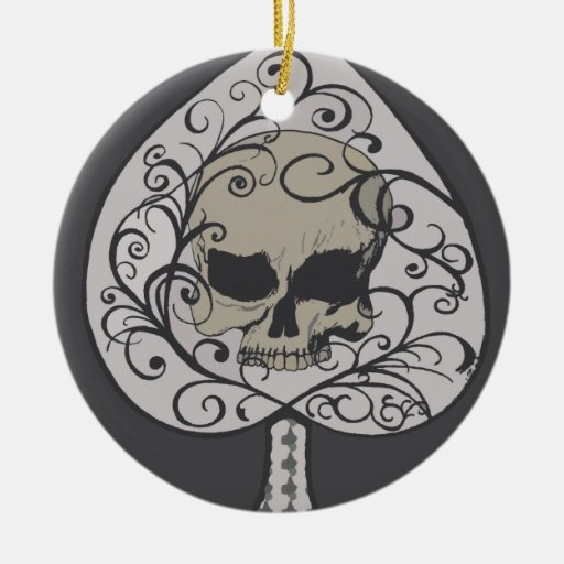 Ace of Spades Decorative Skull Christmas Ornament