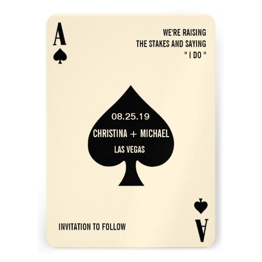 Ace of Spades Modern Chic Photo Save The Date Invites
