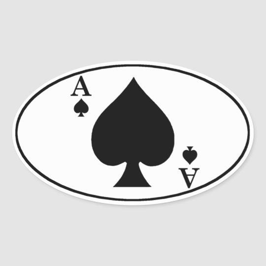 Ace of Spades Oval Bumper Sticker