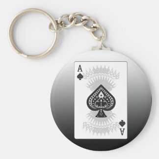 Ace of Spades Poker Card: Basic Round Button Key Ring