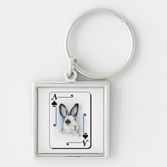Ace of Spades Silver-Colored Square Key Ring