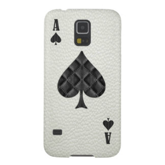 Ace of Spades White Leather Cases For Galaxy S5