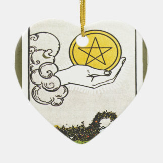 Ace Pentacles Fortune Teller Tarot Card Christmas Ornament