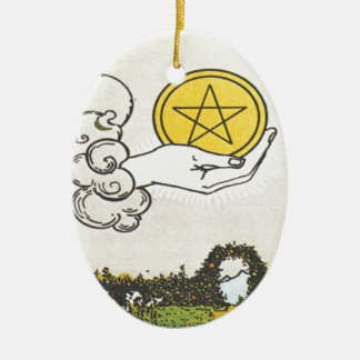 Ace Pentacles Fortune Teller Tarot Card Ornament