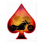 Ace Spades Biker Skull Post Cards