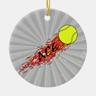 ace tennis ball on fire flames round ceramic decoration