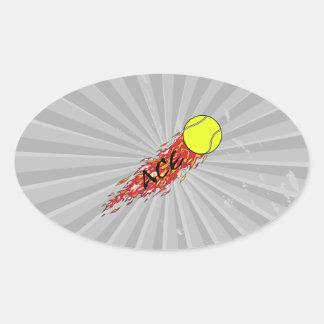 ace tennis ball on fire flames oval sticker
