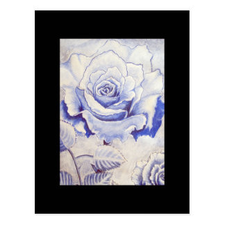 ACEO Art Trading Card - Blue Rose Postcard