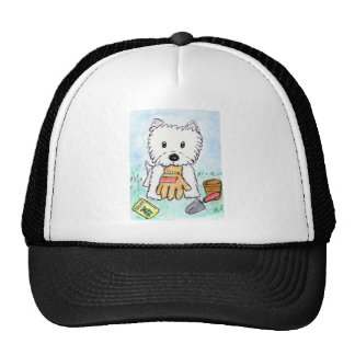 ACEO PRINT westie gardening lighter darkened Cap