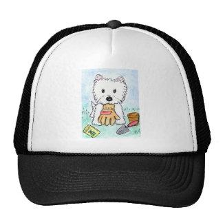 ACEO PRINT westie gardening lighter darkened Hats