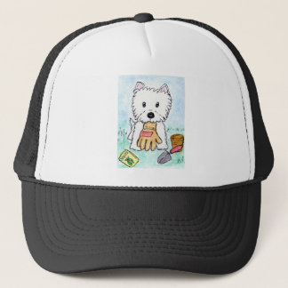 ACEO PRINT westie gardening lighter darkened Trucker Hat
