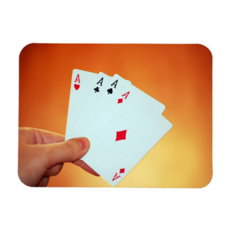 Aces-in-hand1892 CARDS ACES POKER GAMBLING GAMES P Rectangular Photo Magnet
