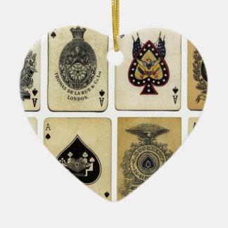 aces of spades vintage ceramic heart decoration