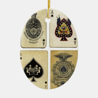 aces of spades vintage ceramic oval decoration
