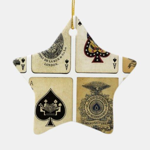 aces of spades vintage christmas tree ornament