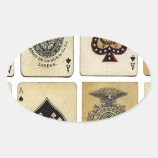 aces of spades vintage oval sticker