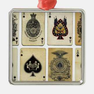 aces of spades vintage Silver-Colored square decoration