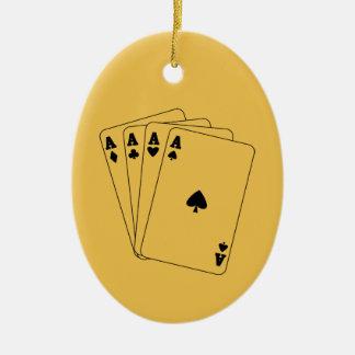 Aces Poker Hand Ceramic Oval Decoration