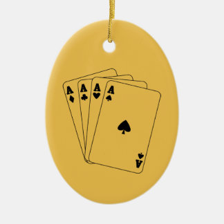 Aces Poker Hand Double-Sided Oval Ceramic Christmas Ornament