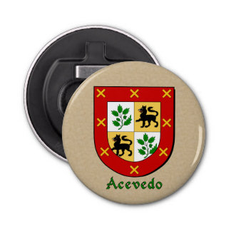 Acevedo Heraldic Arms on Parchment Style Back Bottle Opener