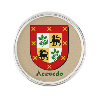Acevedo Historical Arms on Parchment Style Lapel Pin