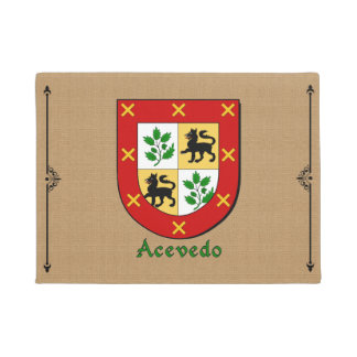 Acevedo Historical Shield on Burlap Background Doormat