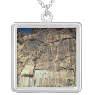 Achaemenid rock relief of King Darius I Silver Plated Necklace