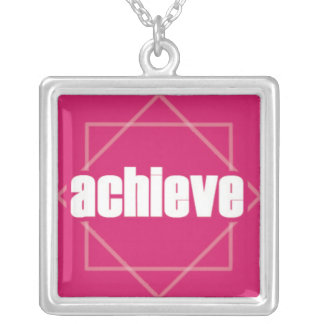 Achieve on Geometric Pattern Square Pendant Necklace