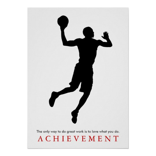 Achievement Quote Motivational Basketball Player Poster
