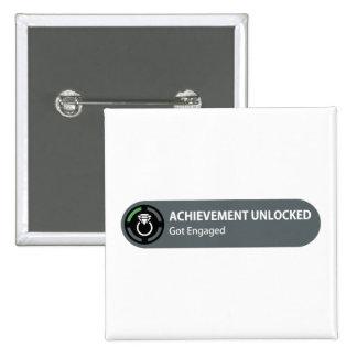 Achievement Unlocked - Got Engaged 15 Cm Square Badge