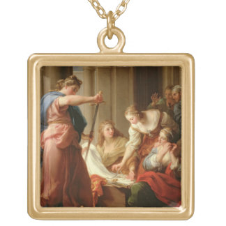 Achilles at the Court of King Lycomedes with his D Square Pendant Necklace