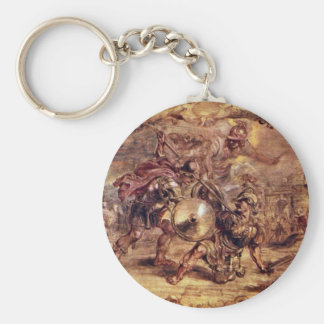 Achilles Defeated Hector.,  By Peter Paul Rubens Basic Round Button Key Ring