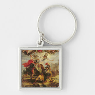 Achilles Defeating Hector, 1630-32 Silver-Colored Square Key Ring