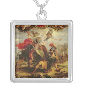 Achilles Defeating Hector, 1630-32 Silver Plated Necklace