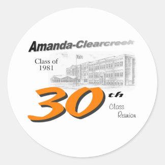 ACHS 30th class reunion logo Classic Round Sticker