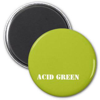 Acid green 6 cm round magnet