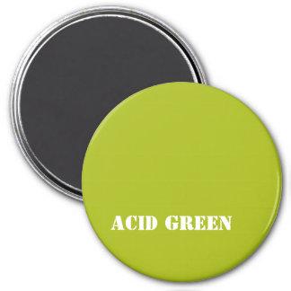 Acid green 7.5 cm round magnet