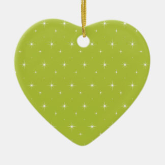 Acid-Green-Apple-And-Bright-Stars-Elegant-Pattern Christmas Ornament