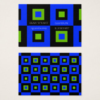 Acid Green & Blue Checkerboard Illusion Business Card